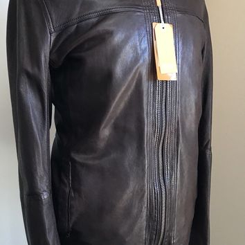 Boss Hugo Boss Mens Leather Jacket Brown 46R US ( 56R Euro)