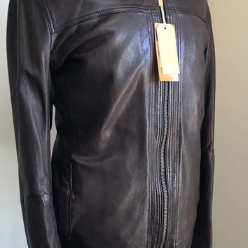 NWT Boss Hugo Boss Mens Leather Jacket Brown 46R US ( 56R Euro)