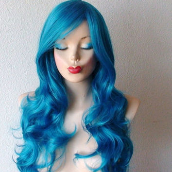 Cerulean Blue wig. Long wavy hair long side bangs teal blue wig. Daily wearing high quality Heat resistant synthetic light blue hair wig.