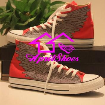 Custom Red Converse Sneakers, Wings on High Top All Star, Flying Wings Shoes, Red Shoe