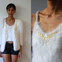 Vtg 2 Piece Angora Wool Sequined Beaded Jeweled Jacket & Strappy Top