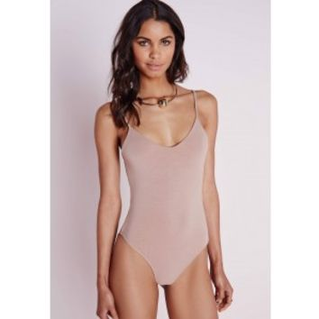 Cami Strap Bodysuit Taupe - Cami - Bodysuit - Tops - Missguided