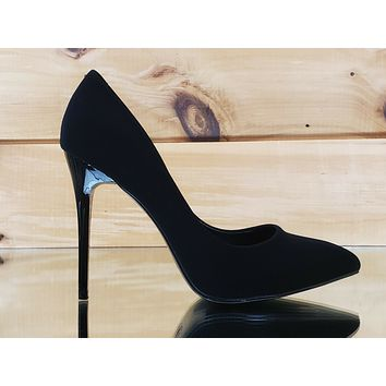 "Fabio Soft Black Lamy 4.5"" High Heel Shoes Pointy Toe Pump 7-11"