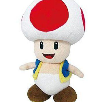 """Little Buddy Toys Super Mario All Star Collection Toad 7.5"""" Plush USA Authentic"""