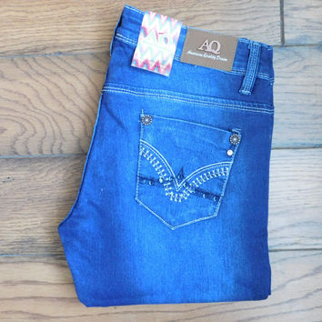 Embroidered Rhinestone Skinny Jean