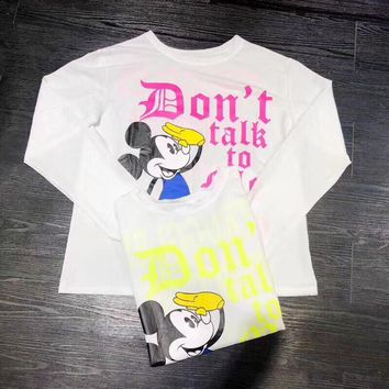 """Disney"" Women Casual Fashion Cartoon Mickey Letter Print Long Sleeve Sun Protection Shirt Tops"