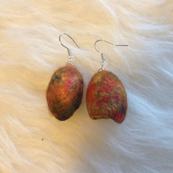 Rainbow Silk Worm Cocoon Earrings - Handmade, Natural, Organic, Silk, Knitting Lovers, Crochet lovers, Soft, Hollow, Dangle, Unique,