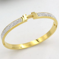 Hermes H mud drill word shell open fashion new bracelet Gold