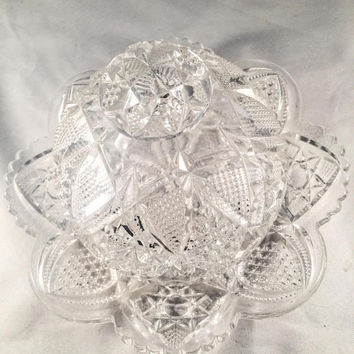 Clear Cut Glass Butter Dish, Domed Lid, Vintage Home Decor, Vintage Dinning/Kitchen, See NOTE In Description.