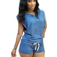 Blue Sleeveless Short Jumpsuits 2016 Fashion Women Summer Sexy Romper Suit Hollow Out Elastic Waist Loose Bodysuit With Belt