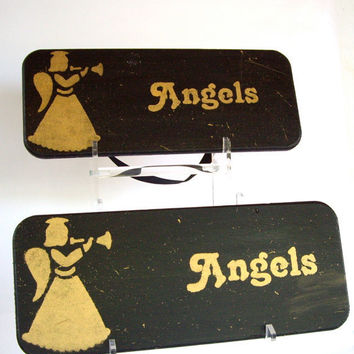 Christmas Hand Painted Plaque Decoration Wall Recycled wood cij