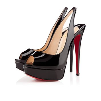 Christian Louboutin Cl Lady Peep Sling Black Patent Leather Platforms 1110001bk01 -