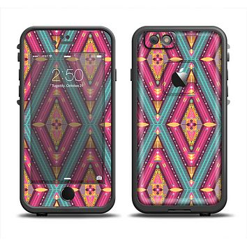 The Pink & Teal Abstract Mirrored Design Apple iPhone 6 LifeProof Fre Case Skin Set