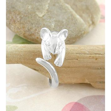 Cute Mouse Wrap Ring, Adjustable