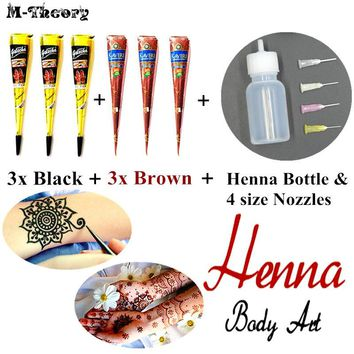 M-Theory 6 pcs Mehndi Henna Cone 25g + Henna Bottle - Waterproof Temporary Tattoo Mehendi Flash Tatoo Swimsuit Makeup Tools