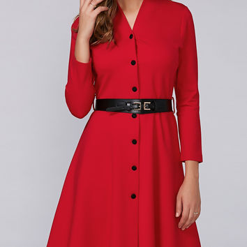 Red Belted Buttoned Midi Dress with Belt