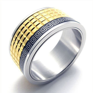 Modern Men's Titanium Gold Square Pattern Designed Ring-Size 10