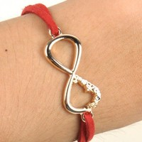 Red Suede Gold Infinity Bracelet a perfect gift for any occassion