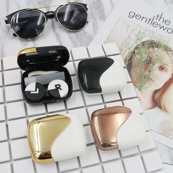 Patchwork Fashionable Contact Lens Case For Eye Protectable Container Holder Travel Coloured Contact Lenses Box For Glasses