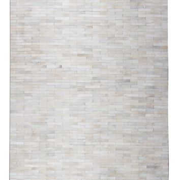 Brick White Patchwork Cowhide Area Rug