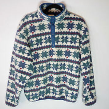 vintage LL Bean snap-t fleece jacket snowflakes aztec patagonia - Women large