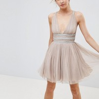 ASOS PETITE Tulle Strappy Embellished Mini Skater Dress at asos.com