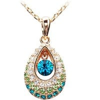 Unique Teardrop Crystal Rhinestone Pendant Chain Necklace at Online Fashion Jewelry Store Gofavor