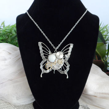 Steampunk Butterfly Necklace, Watch Parts, Clock, Shabby Chic S03