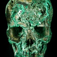 "HUGE 4.2"" Malachite Carved Crystal Skull, Super Realistic"