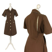 Retro 1970's Dress | Brown Vintage Dress | Bowling Dress | Button Down | Shirtwaist | Shirt Dress | Medium