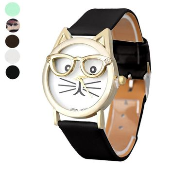 Cute Cat watch Women's watches Glasses reloj mujer Analog Quartz Dial Ladies Watch saat Leather Simple Clock relogio feminino
