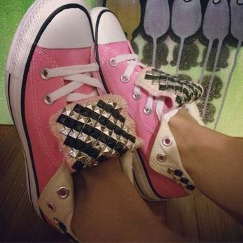 Custom Studded Pink Converse All Star High Tops - Chuck Taylor. ALL COLORS & SIZES!