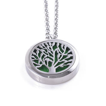Tree Of Life Stainless Steel Oil Diffuser Necklace