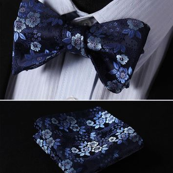 Men's Bow Ties Navy Blue 100%silk Woven Butterfly Self Pocket Square