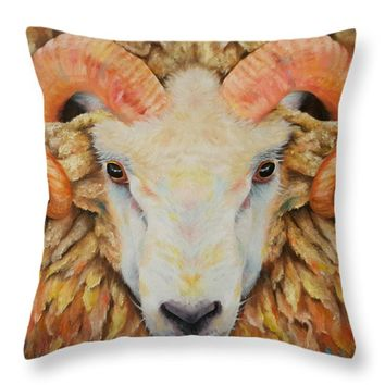 "The Goat's New Clothes Throw Pillow for Sale by Kathleen Wong - 18"" x 18"""