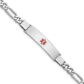 925 Sterling Silver 7mm Rhodium-plated Medical ID Figaro Link Chain Necklace, Bracelet or Anklet