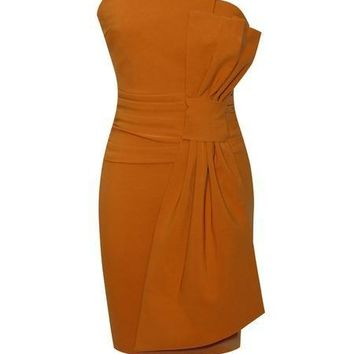 Strapless Fold Bow Front Rust Orange Stretch Crepe Dress