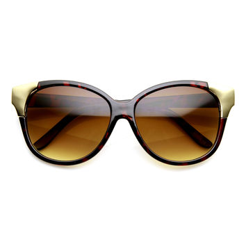 Women's Oversize Metal Tip Cat Eye Fashion Sunglasses 9485