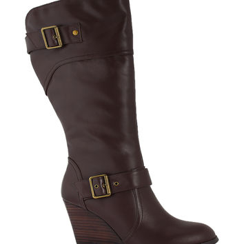 San Jacinto Boot Company Brown Monument Wide-Calf Leather Wedge Boot | zulily