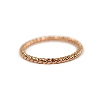 Sterling Silver 22k Rose Gold Plated Twisted Stacking Ring