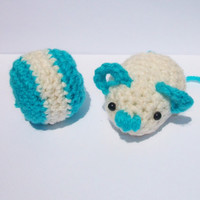 Organic mice cat toys catnip/ special five blend nip,  cute rodent, mouse turquoise and white crocheted