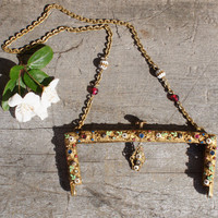 1850's Victorian Gilded Jeweled Encrusted Purse Clasp