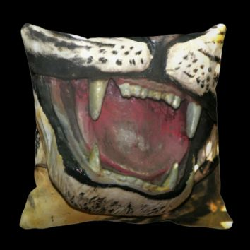 Open tiger mouth statue pillow