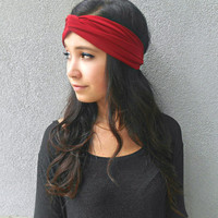 Red Turban Headband Jersey Headband Hippie Headband Bohemian Women's Hair Accessories Ear Warmer