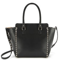 Ecosusi Synthetic Leather Studded Rivet Classic Women Tote Bag Top Handle Handbags (Black)