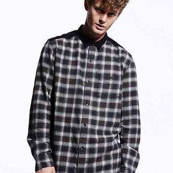Your Neighbors Henrik Long Flannel Button-Down Shirt - Navy