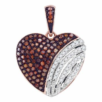 10kt Rose Gold Womens Round Red Color Enhanced Diamond Heart Love Pendant 1/3 Cttw