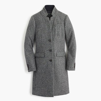 J.Crew Womens Regent Topcoat In Grey Donegal Wool