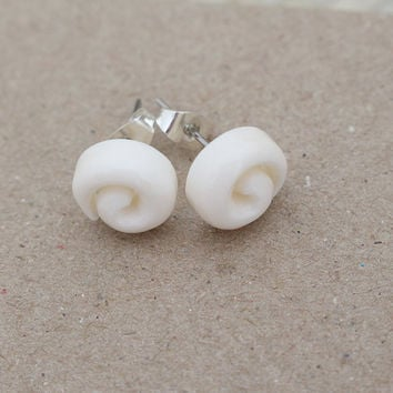 Small Spiral Bone Earrings - Post Bone Earrings - Stud Earrings Bali Handmade Jewelry