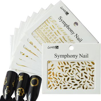 5 Sheets 3D Glitter Nail Art Tips Mixed Nail Sticker Fashion Gold Music/Flower/Ring/Feather DIY Stamp for Manicure Decor CH270